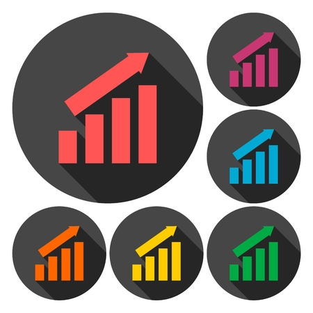 busines: Busines finance graph icons set with long shadow