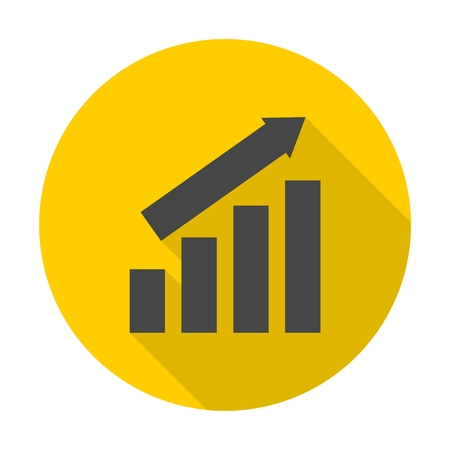 busines: Busines finance graph icon with long shadow Illustration