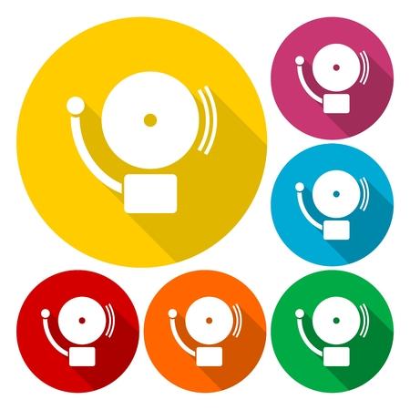 intruder: Alarm icon, School icons set with long shadow Illustration