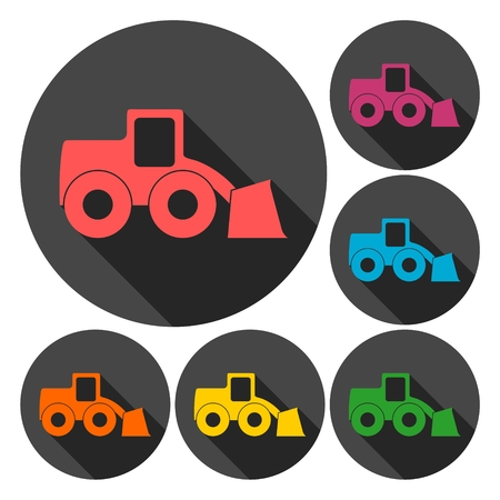 heavy duty: Loader icons set with long shadow
