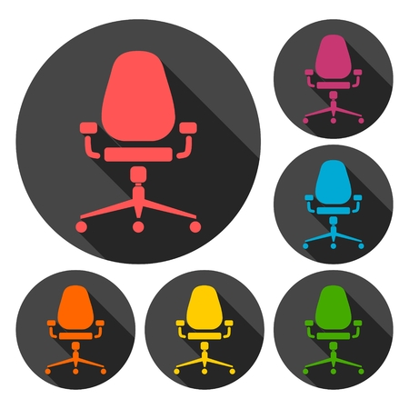 Office chair icons set with long shadow 向量圖像
