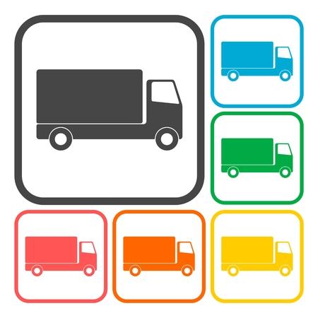 hauler: Truck icons set