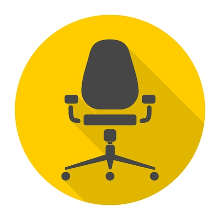 ergonomics: Office chair icon with long shadow