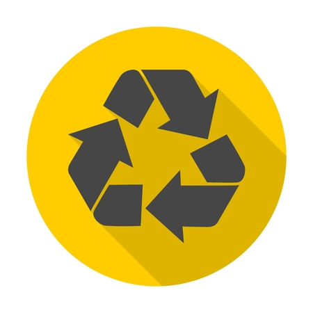 recycling symbol: Recycling Symbol icon with long shadow Illustration