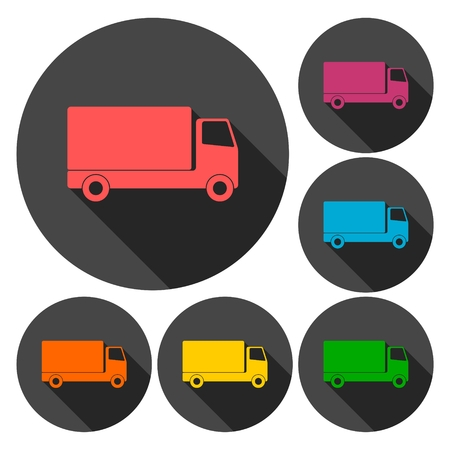 hauler: Truck icons set with long shadow Illustration