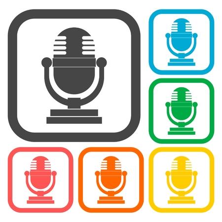 retro microphone: Retro microphone icons set Illustration