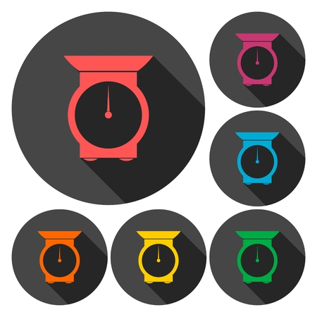 electromechanical: Kitchen scales icons set with long shadow Illustration