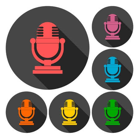 retro microphone: Retro microphone icons set with long shadow Illustration