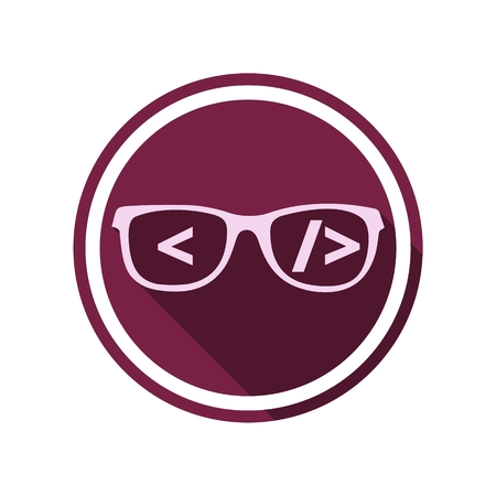 coder: Coder sign icon, Glasses icon, Programmer symbol with long shadow Illustration