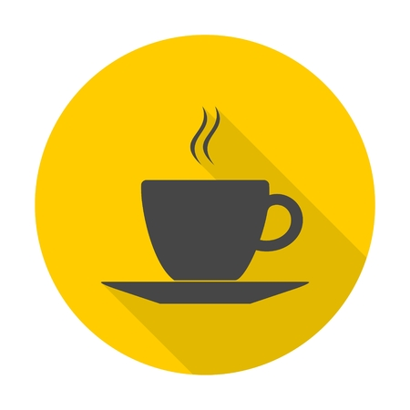 contemporary design: Coffee icon with long shadow