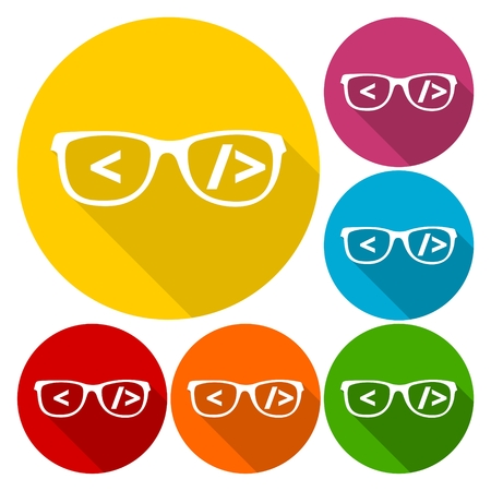 coder: Coder sign icon, Glasses icon, Programmer symbol set with long shadow