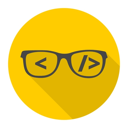 coder: Coder sign icon, Glasses icon, Programmer symbol