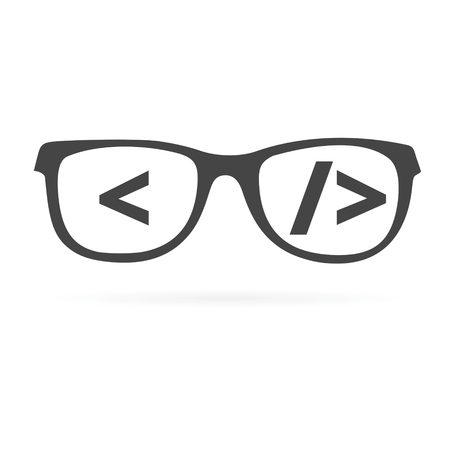 Coder sign icon, Glasses icon, Programmer symbol