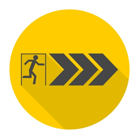 emergency exit icon: Emergency exit icon with long shadow