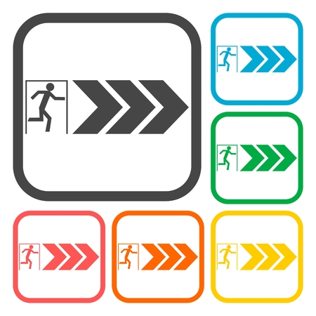going away: Emergency exit icons set Illustration