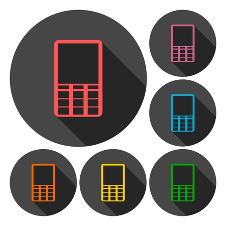 hands free device: Mobile icon, Phone icons set with long shadow