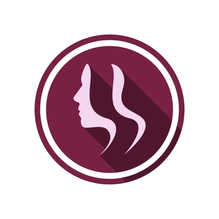 woman shadow: Young woman icon with long shadow Illustration