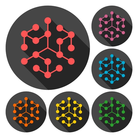 resin: Chemistry icons set with long shadow