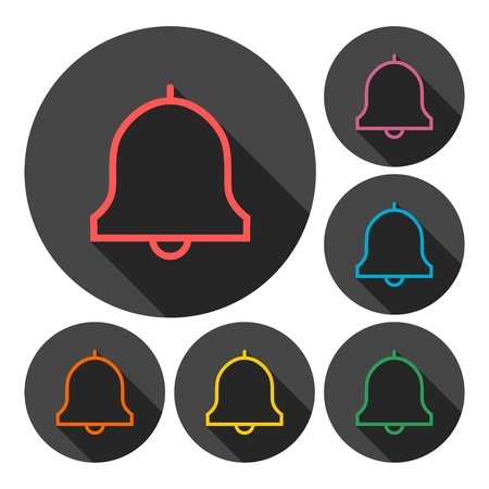 notification: Notification icons set with long shadow Illustration