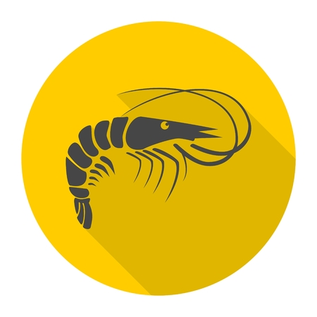 lobster boat: Shrimp icon with long shadow Illustration