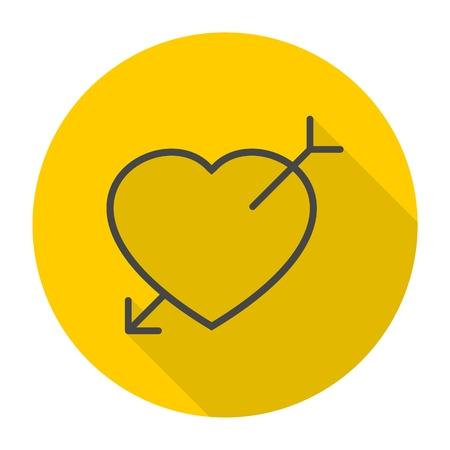 heart arrow: Heart arrow icon with long shadow