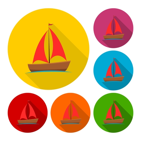 inflate boat: Sailing boat icons set with long shadow Illustration
