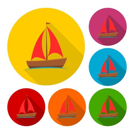 sea tanker ship: Sailing boat icons set with long shadow Illustration