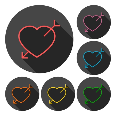 love pic: Heart arrow icons set with long shadow