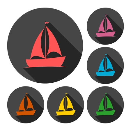 inflate boat: Sailing boat icon with long shadow