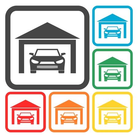 garage: Garage car icons set