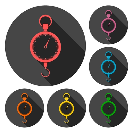 acquittal: Scales icons set with long shadow