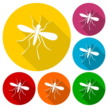 infect: Mosquito icons set with long shadow Illustration