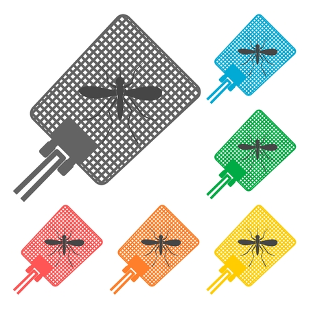 Flyswatter and mosquito icons set