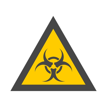 the bacteria signal: Biohazard yellow icon sign Illustration