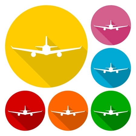 fixed wing aircraft: Airplane icons set with long shadow