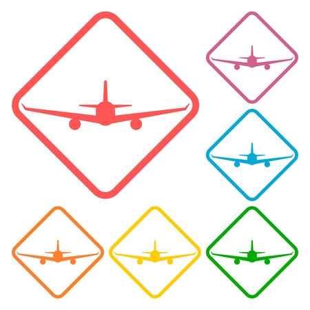 fixed wing aircraft: Airplane icons set