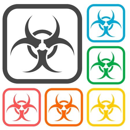 the bacteria signal: Biohazard sign icons set Illustration