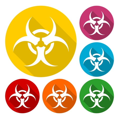 the bacteria signal: Biohazard sign icons set with long shadow