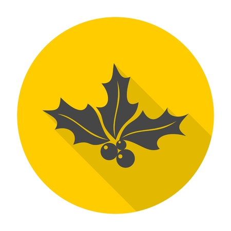 aquifolium: Holly berry icon with long shadow