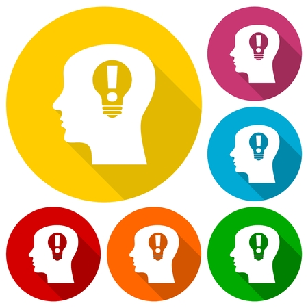 idea icon: Human head, Creative Idea icons set with long shadow Illustration