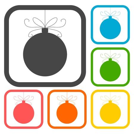 long socks: Christmas ball icons set Illustration
