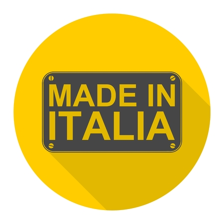 italia: Made in Italia icon with long shadow