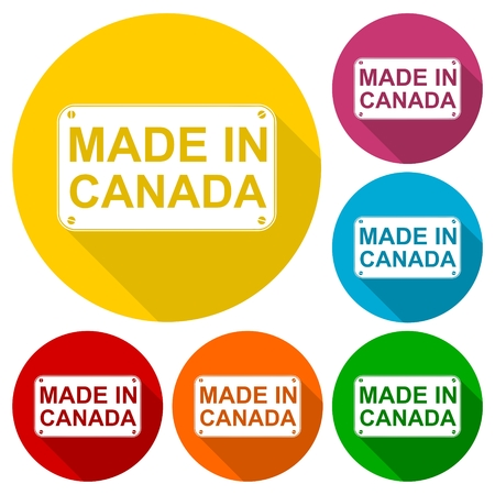 edmonton: Made in Canada icons set with long shadow