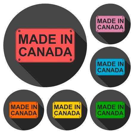 winnipeg: Made in Canada icons set with long shadow
