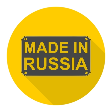 made in russia: Made in Russia icon with long shadow Illustration