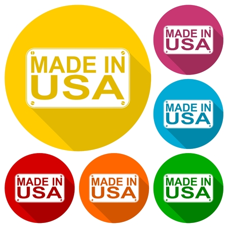 import trade: Made in USA icons set with long shadow
