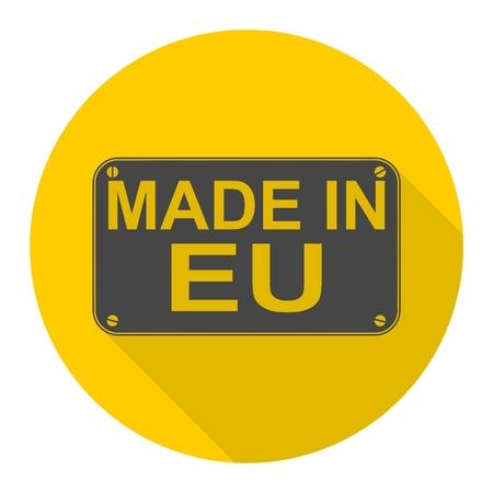 eu: Made in EU icon with long shadow