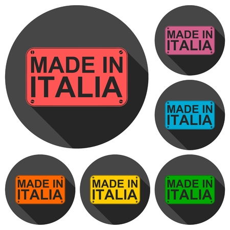 italia: Made in Italia icons set with long shadow Illustration
