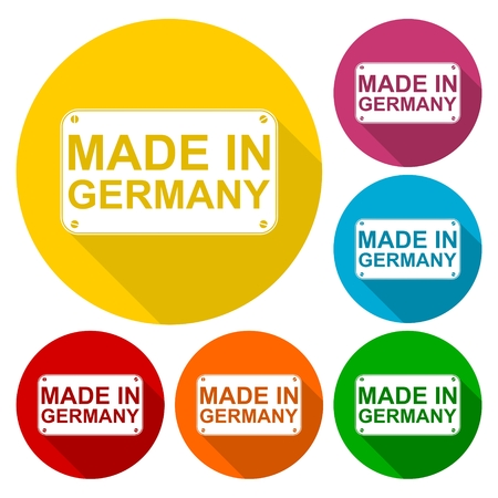certificated: Made in Germany icons set with long shadow