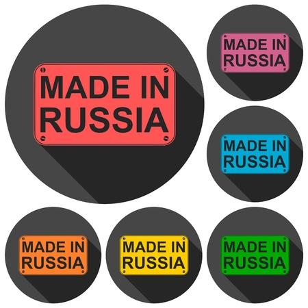 made russia: Made in Russia icons set with long shadow Illustration